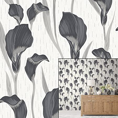 Crown Cala Lily Ebony Grey Luxury Textured Wallpaper Amazon Co Uk