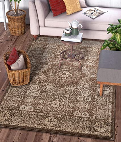 Well Woven Camila Medallion Brown Distressed Traditional Vintage Persian Floral Oriental Area Rug 8×11 7'10″ x 9'10″ Carpet