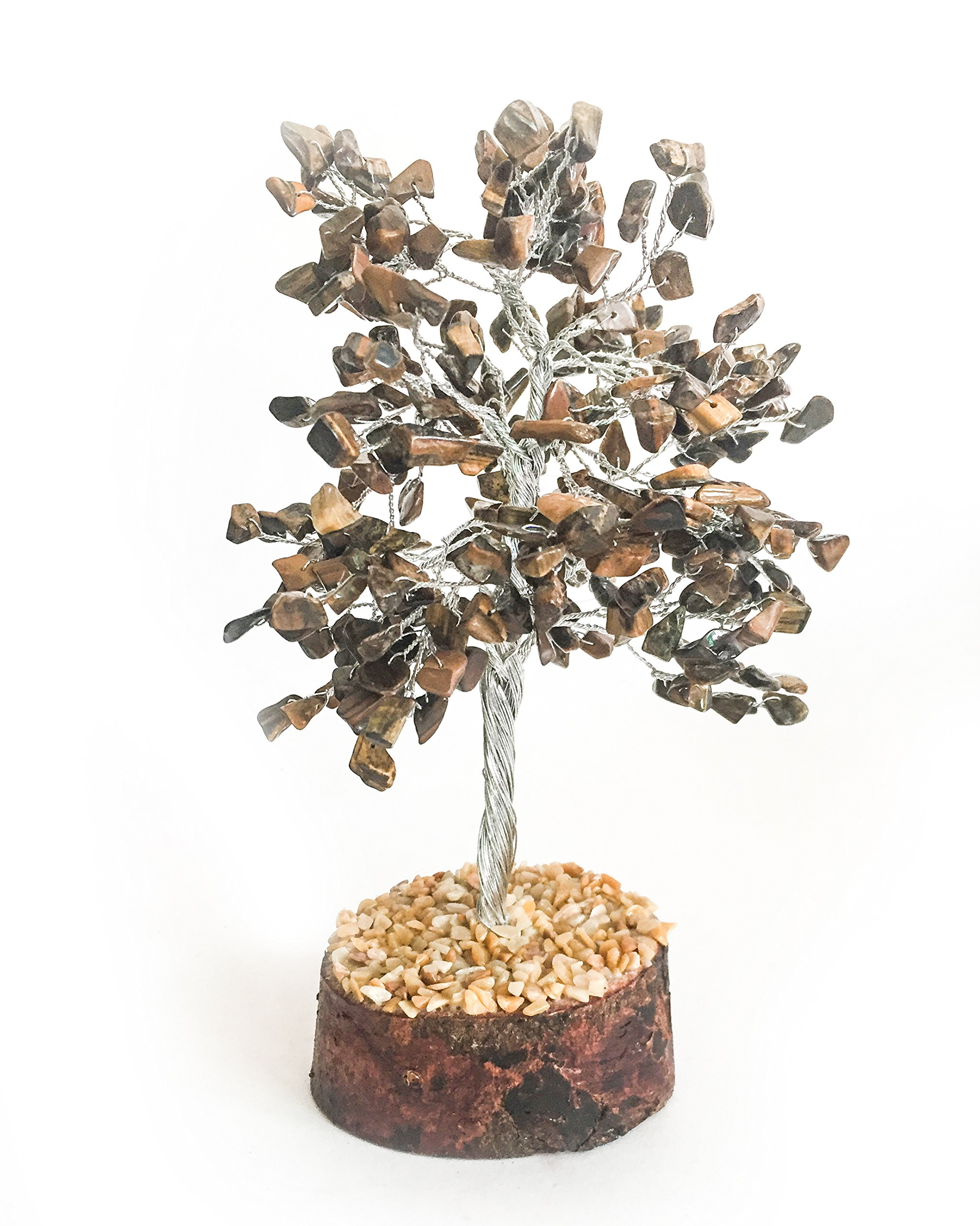 Crocon Natural Color Healing Gemstone Crystal Bonsai Fortune Money Tree for Good Luck, Wealth & Prosperity Spiritual Gift size 10 INCH (Silver Wire) (Tiger eye)