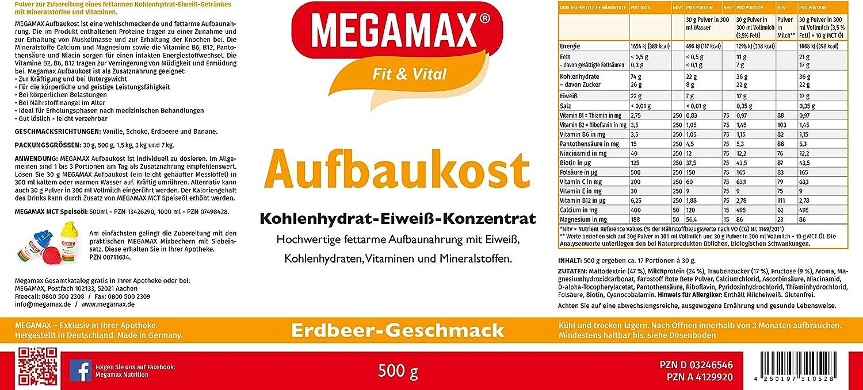 MEGAMAX - Aufbaukost - Suplemento en polvo para ganar peso y masa muscular - Fresa - Solo un 0,5% de grasa - 500 g: Amazon.es: Deportes y aire libre