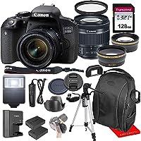 Canon EOS 800D / Rebel T7i w/Canon EF-S 18-55mm F/4-5.6 is STM Zoom Lens & Professional Accessory Bundle W/ 128GB Memory…