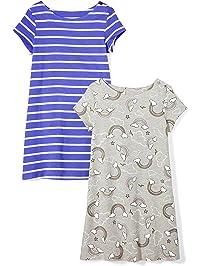 9b52df57903 Spotted Zebra Amazon Brand Girls  2-Pack Knit Short-Sleeve A-Line