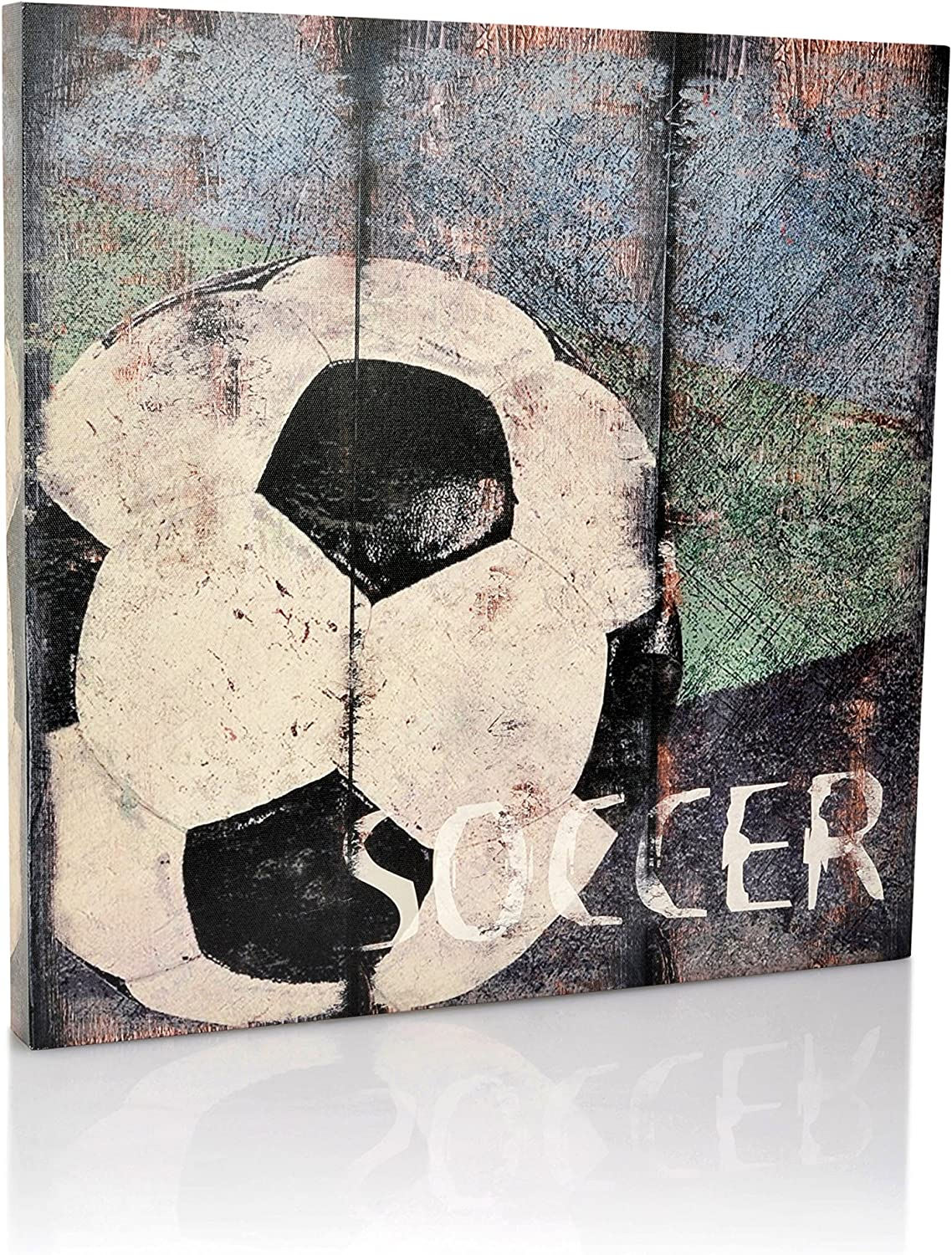 "Soccer Sports Canvas Wall Art | Boys Bedroom Décor | Kids Room | Vintage Sports Art | Soccer Decor | For Sports Room & Game Room | Great Gift | Large Size 18""x18"""