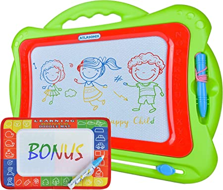 Magnetic Drawing Board for Kids and Toddlers   Size 13'' x 16'' w/ Large Drawing Area   Colorful Erasable Drawing Mat   Toy for Travel or Home w/ Bonus Water Mat