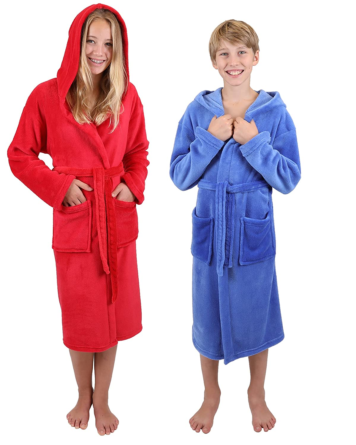 Betz Bathrobe Hooded Kids Bath Robe Cuddly Soft Colours: blue/red size 140 / red