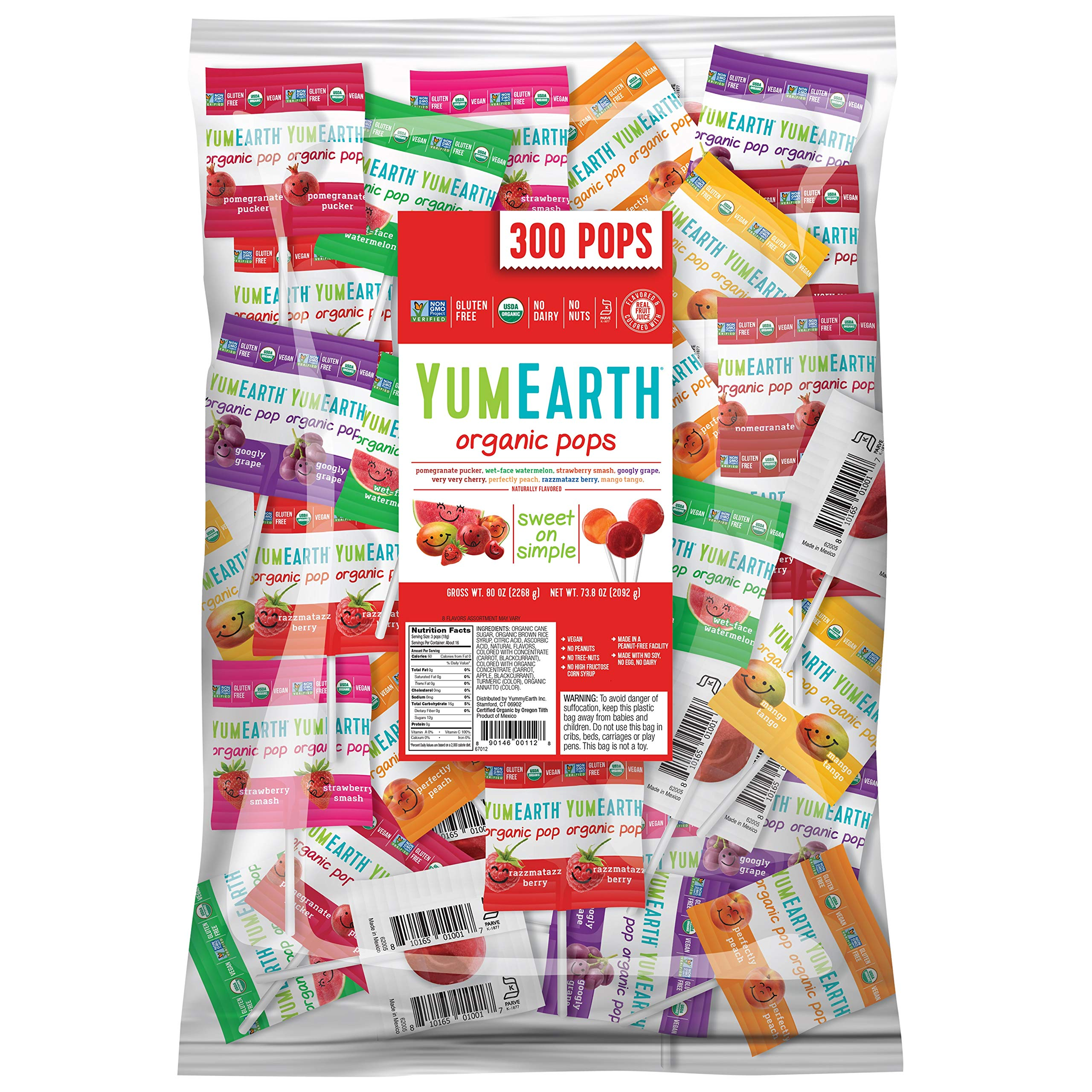 YumEarth Organic Lollipops, Assorted Flavors, 80 Oz by YumEarth