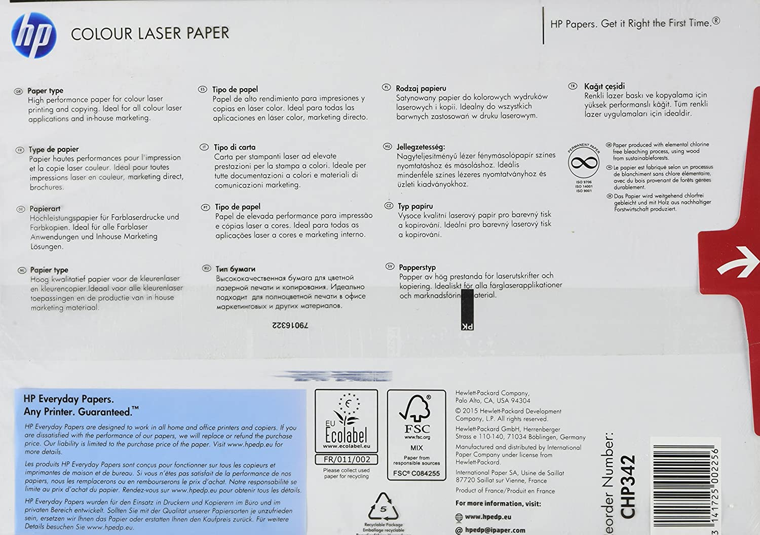 HP Papers CHP342 120GSM A4 Color Laser Paper, 500 sheets