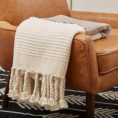 Rivet Modern Global-Inspired Boho Textured Tassel 100% Cotton Throw Blanket