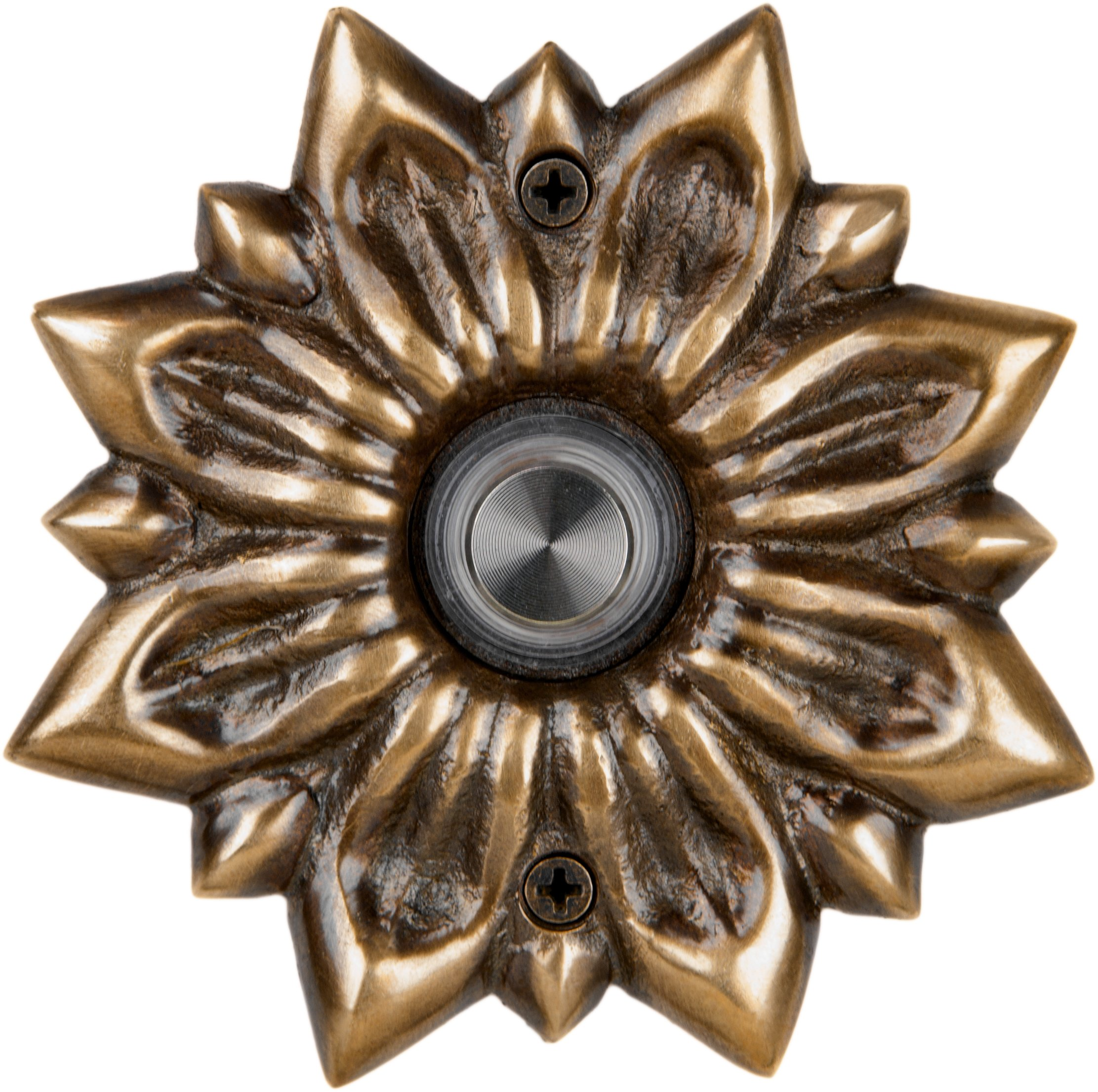 Waterwood Solid Brass Radiance Doorbell in Antique Brass