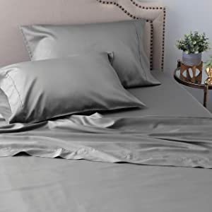 Welhome 300 Thread Count Queen Size Cotton Tencel Lyocell Sateen Sheet Set - 4 Piece - Supersoft & Smooth - Luxurious Feel - Sustainable - Breathable - Deep Pocket - Graphite