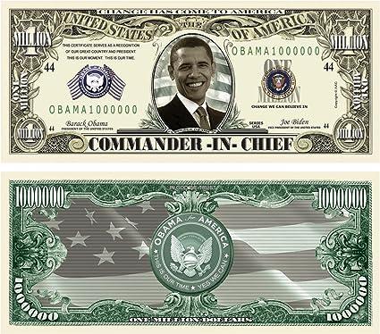 OBAMA COMMANDER IN CHIEF MILLION DOLLAR LOT OF 2 BILLS