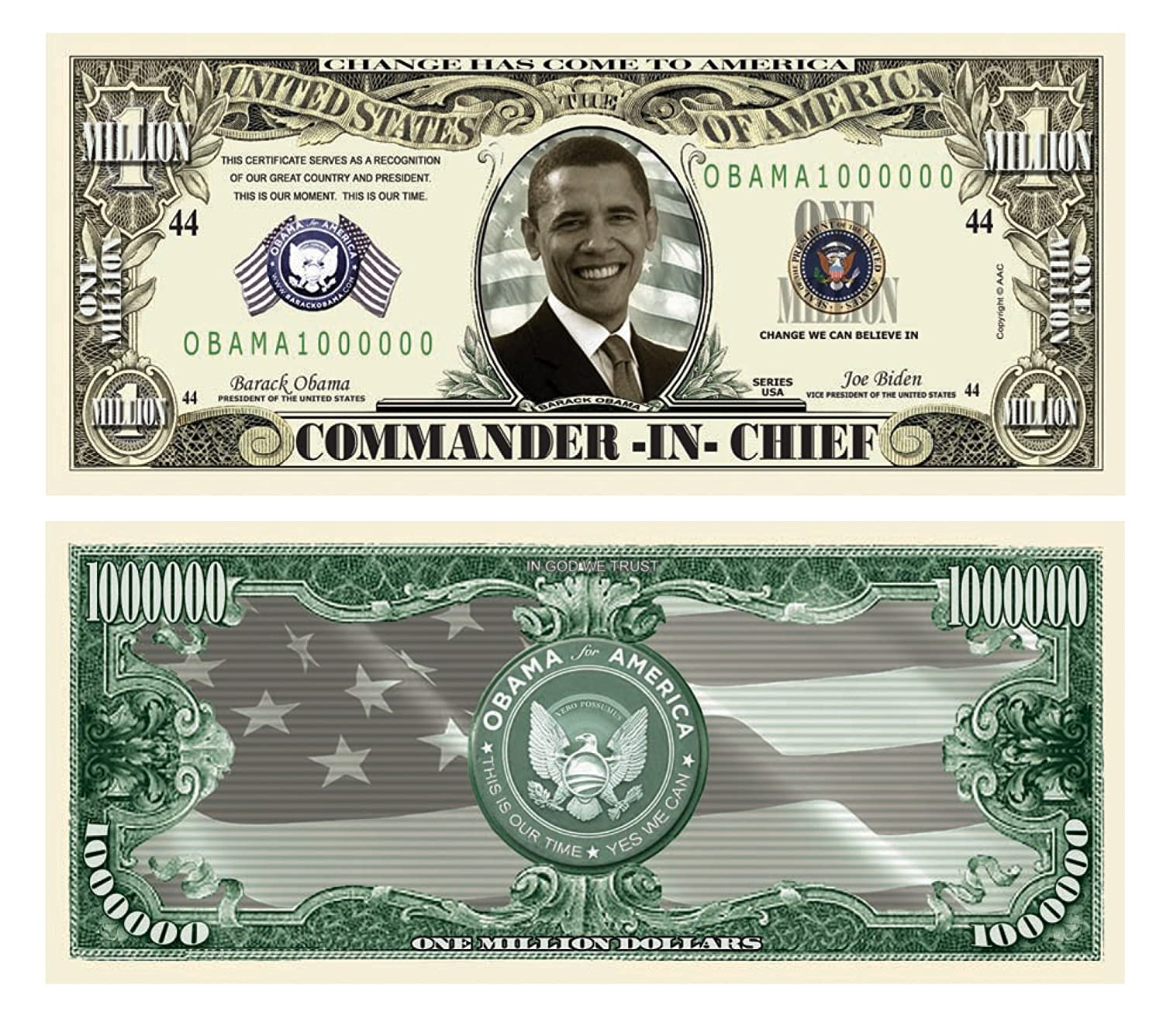 Amazon.com: Obama 44th President Collectors Presidential One Million Dollar  Bill in Protector: Toys & Games