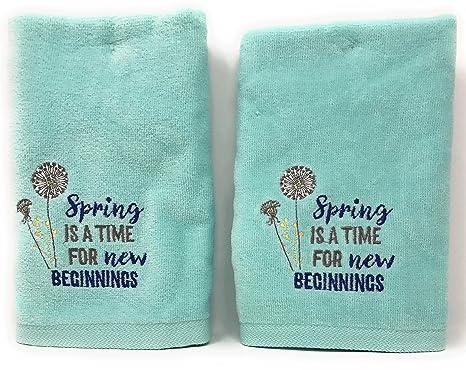 Spring Style - Toallas de mano de algodón blanco bordado floral para invitados, 2 unidades