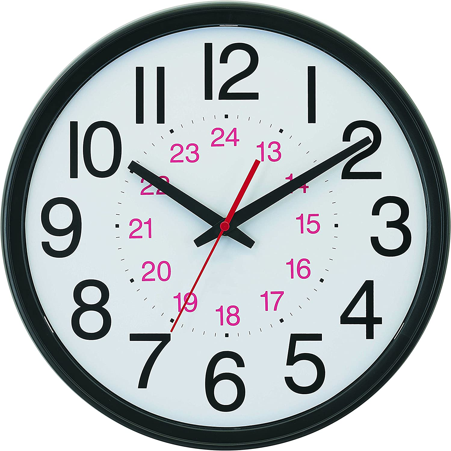 """Tempus Wide Profile Wall Clock with 24 Hour Dial and Daylight Saving Time Auto-Adjust Movement, 13.75"""", Black"""