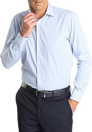 Caramelo, Camisa Vestir Regular Cuello Italiano, Hombre · Azul Claro, talla 50: Amazon.es: Ropa y accesorios