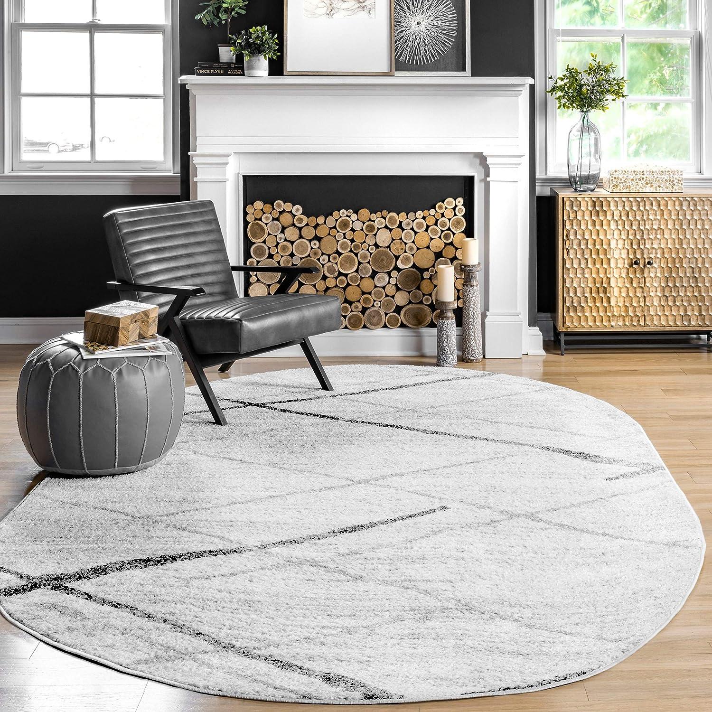 nuLOOM Thigpen Contemporary Area Rug, 4' x 6' Oval, Grey