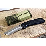 Buckshot Knives PBK220 Thumb Open Spring Assisted Tanto Cleaver Classic Wood Handle Pocket Knives