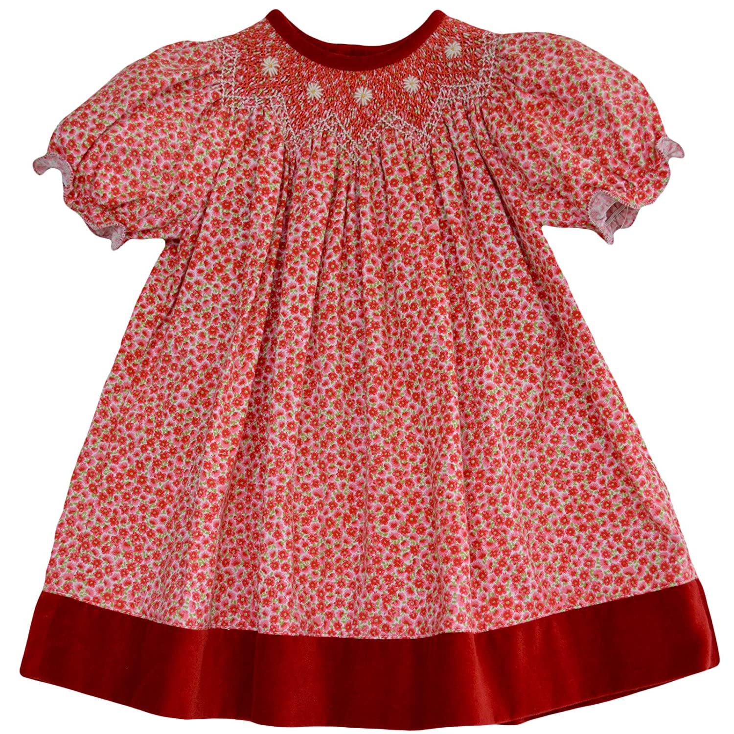 1940s Children's Clothing: Girls, Boys, Baby, Toddler Carriage Boutique Girls Festive Hand Smocked Holiday Bishop Dress - Red on Red Floral $48.00 AT vintagedancer.com