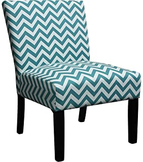 Chic Home Chair, Fabric Spring Foam Seat, Black Legs, Teal Grey White Zig