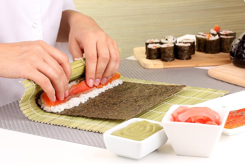 Helen's Asian Kitchen Bamboo Japanese Sushi Mat Paddle Set Maker Rice Seawood 97025