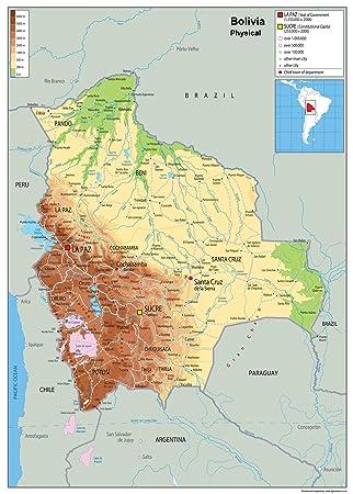 Wandkarte Bolivien Physische Karte Papier Laminiert Ga A0