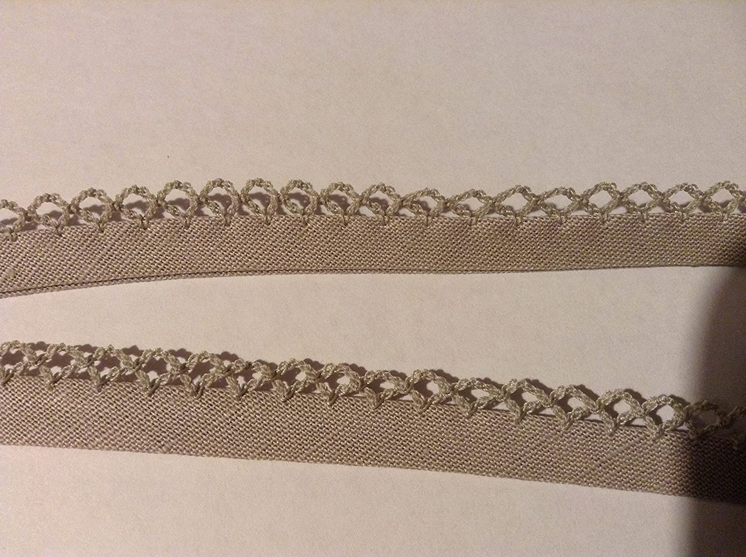 2 m x 12 mm Nastro in sbieco con Picot Edge in beige. Sew Many Buttons