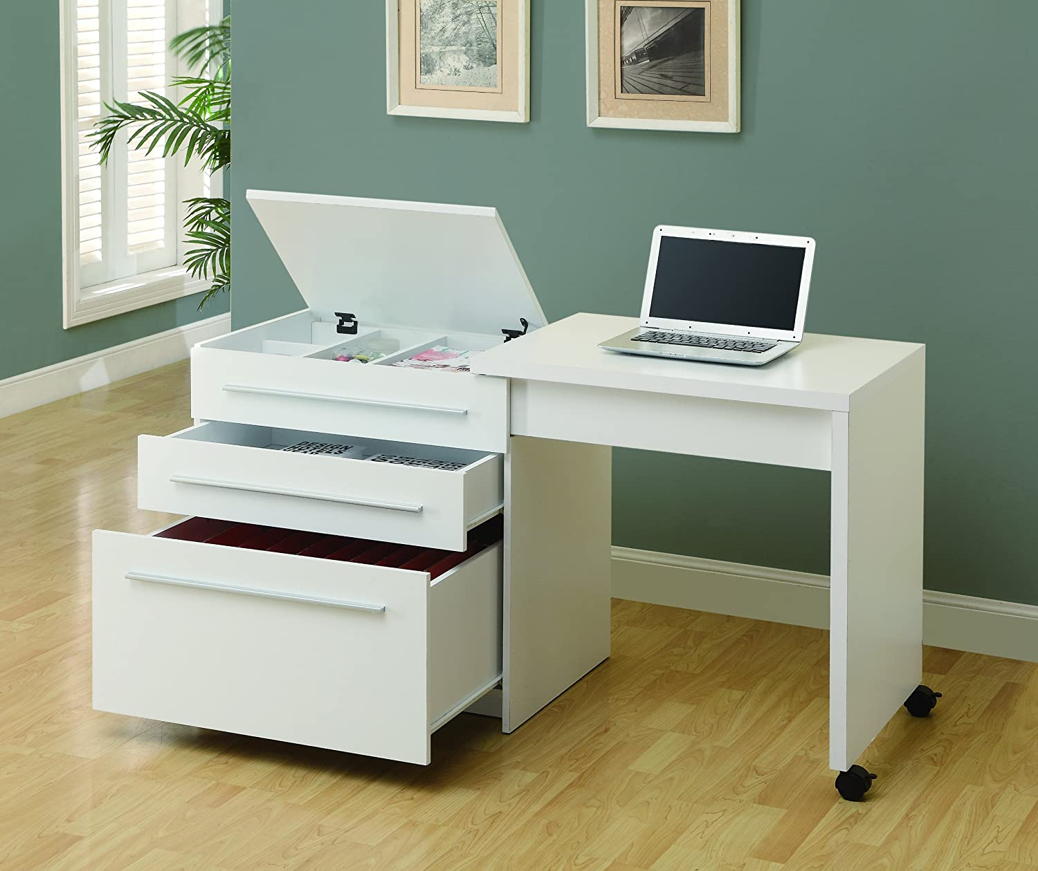 Amazon.com: Monarch Slide Out Desk With Storage Drawers, White: Kitchen U0026  Dining