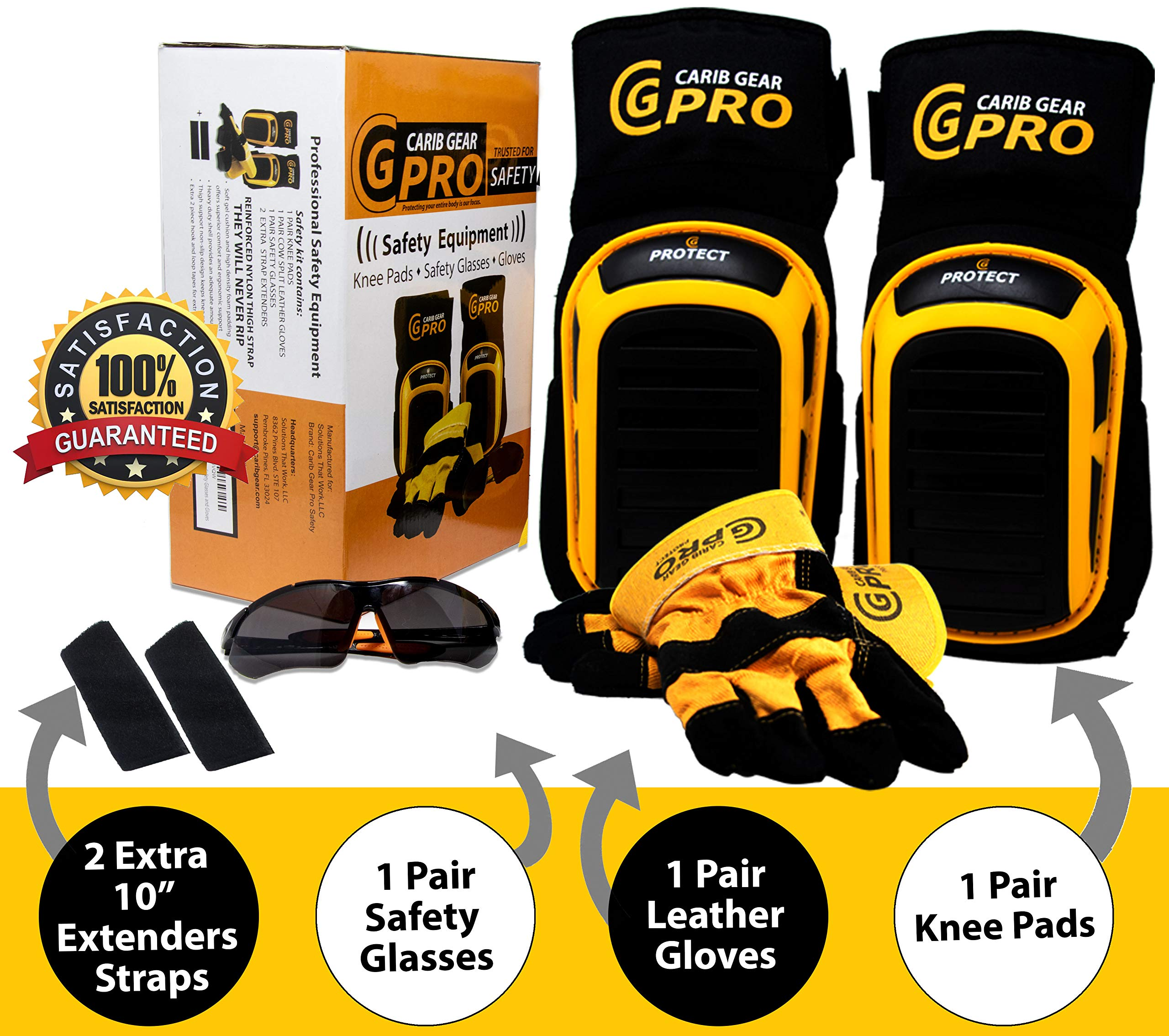 Knee Pads For Work- Heavy Duty Construction Gel knee Pads Best Tool for Tiling, Gardening, Flooring, Cleaning, Comfortable Foam Cushion, Stretchable Anti-Slip Thigh Straps with Safety Glasses & Gloves by Carib Gear Pro Safety