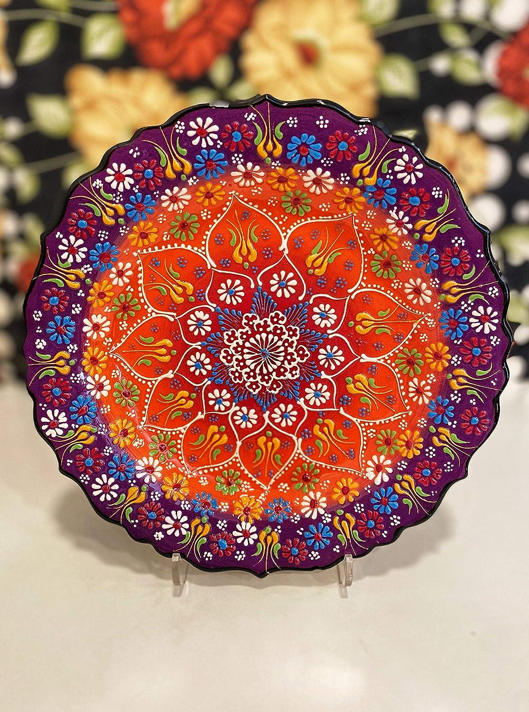 IstanbulArtWorkshop 12 Handmade Decorative Ceramic Plate For Wall Decor,Turkish Ceramic Plate,Decorative Wall Hanging Plate,Ceramic Wall Plate,Wall Art