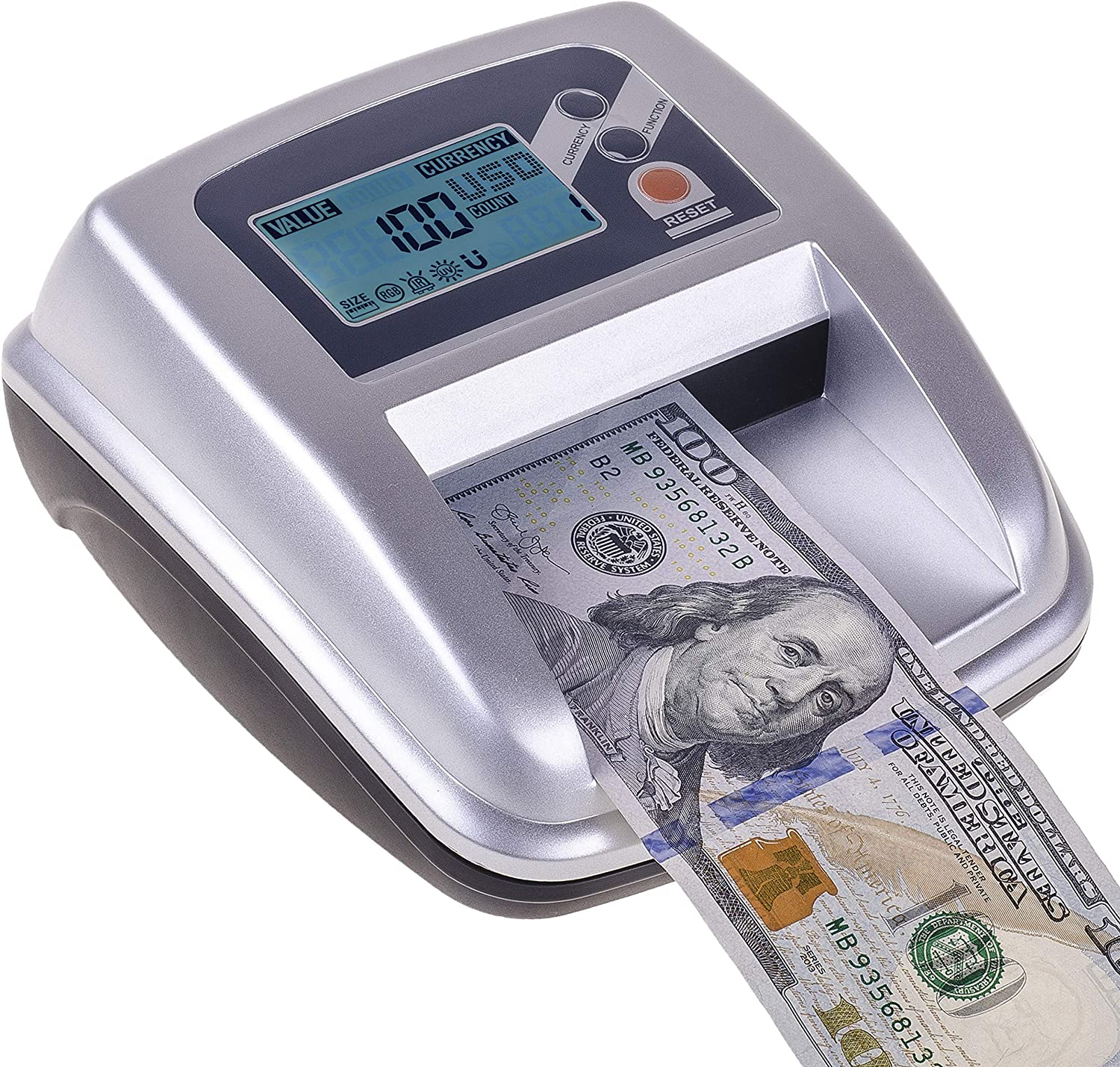 Portable 4 Way Insertion Counterfeit Bill Detector with Battery Eko system