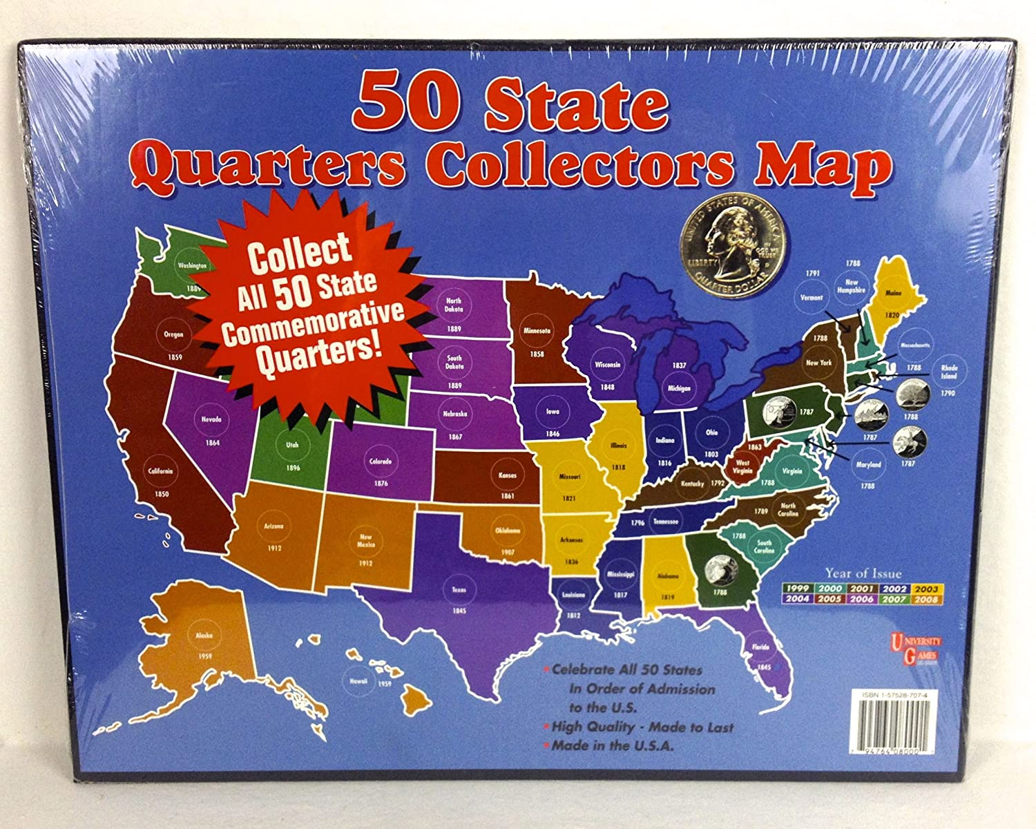 Amazoncom State Quarters Collectors Map Collectible Coins - Us map for quarters
