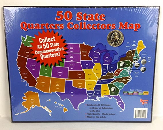 Amazoncom 50 State Quarters Collectors Map Office Products - Us-map-for-quarters