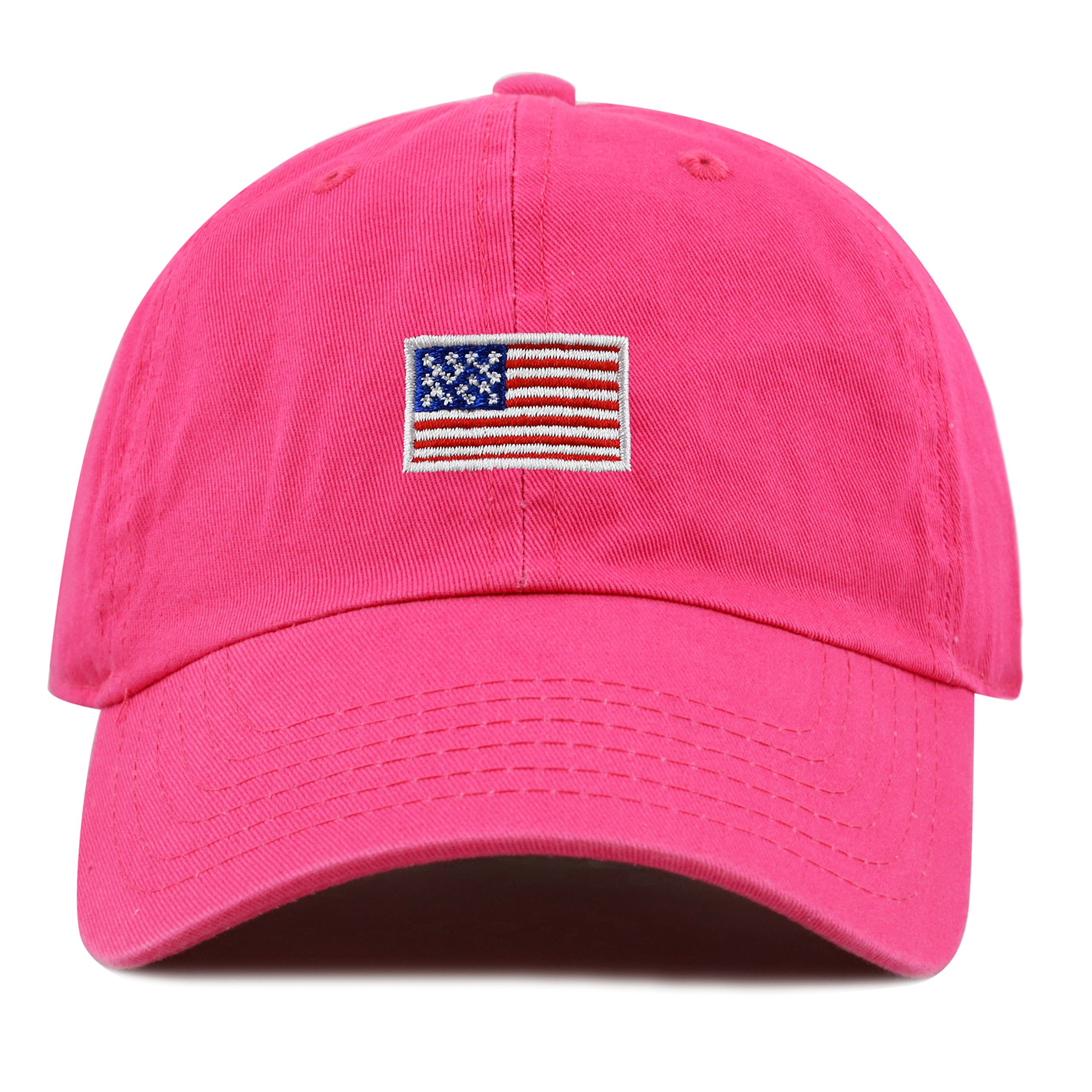 THE HAT DEPOT Kids American Flag Washed Low Profile Cotton and Denim Plain Baseball Cap Hat (2-5yrs, Hot Pink)