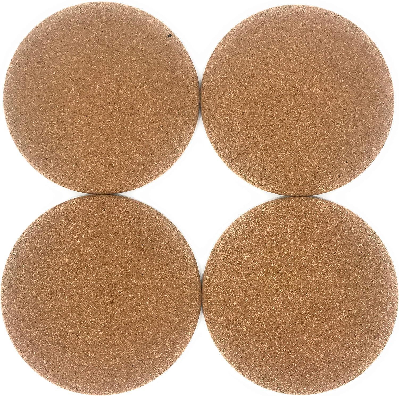 lana naturalis® Juego de 4 posavasos de corcho, 19 cm de diámetro/grosor 10 mm, posavasos de corcho natural estable