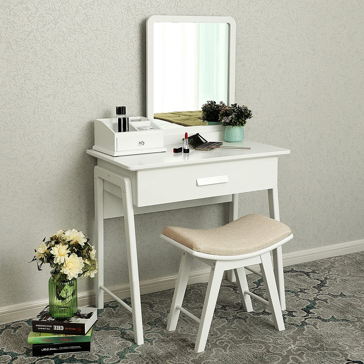 SONGMICS Vanity Table Set with Square Mirror and Makeup Organizer Dressing Table