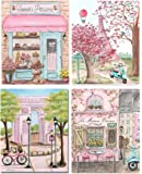 Girls Travel Theme Paris Nursery Wall Art, Personalized, Laduree, Cafe, Eiffel Tower, Set Of 4 Prints, 5x7 to 24x36