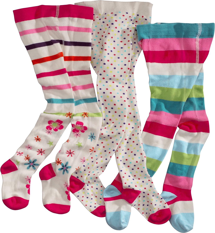 WELLYOU leotardos para bebés/niños, medias para niñas, pantimedias para bebés/niñas, colorido conjunto de 3 medias con puntos, rayas y flores. Tallas 62-146