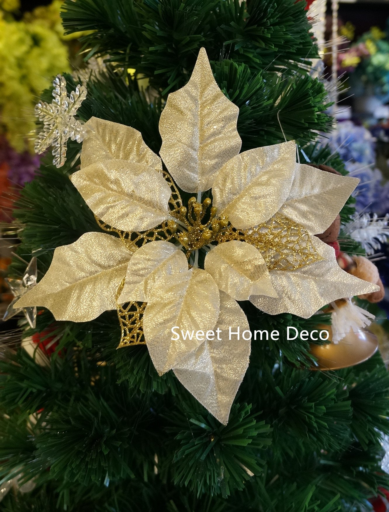 Sweet-Home-Deco-9W-Silk-Shinning-Sprakled-Poinsettia-Artificial-Flower-Heads-Set-of-5-Christmas-Decorations