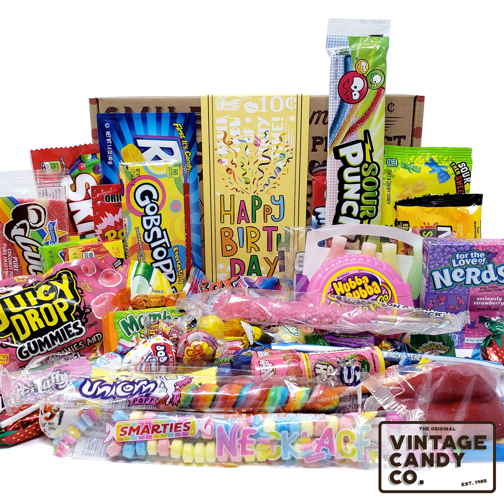 VINTAGE CANDY CO. HAPPY BIRTHDAY FUN CANDY CARE PACKAGE - Modern and Retro Candies Assortment Variety - GAG GIFT BASKET - PERFECT For Adults, College Student, Military, Teens, Man, Woman, Boy or Girl by Vintage Candy Co.