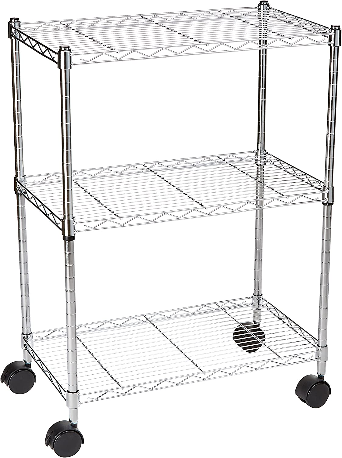 "AmazonBasics 3-Shelf Shelving Storage Unit on 3"" Wheel Casters, Metal Organizer Wire Rack"