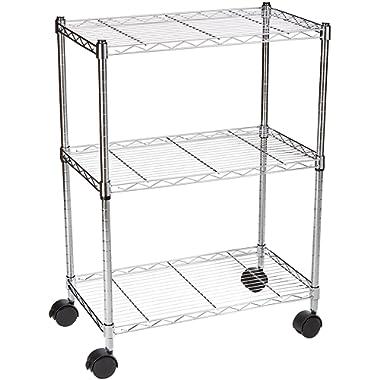 AmazonBasics 3-Shelf Shelving Storage Unit on Wheels, Metal Organizer Wire Rack, Chrome Silver