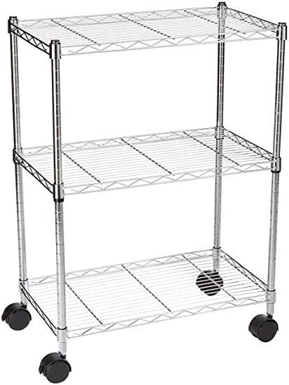 ba4b08ca6104 AmazonBasics 3-Shelf Shelving Storage Unit on Wheels, Metal Organizer Wire  Rack, Chrome Silver