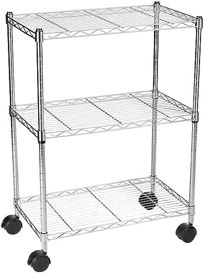 AmazonBasics 3 Shelf Shelving Unit On Wheels