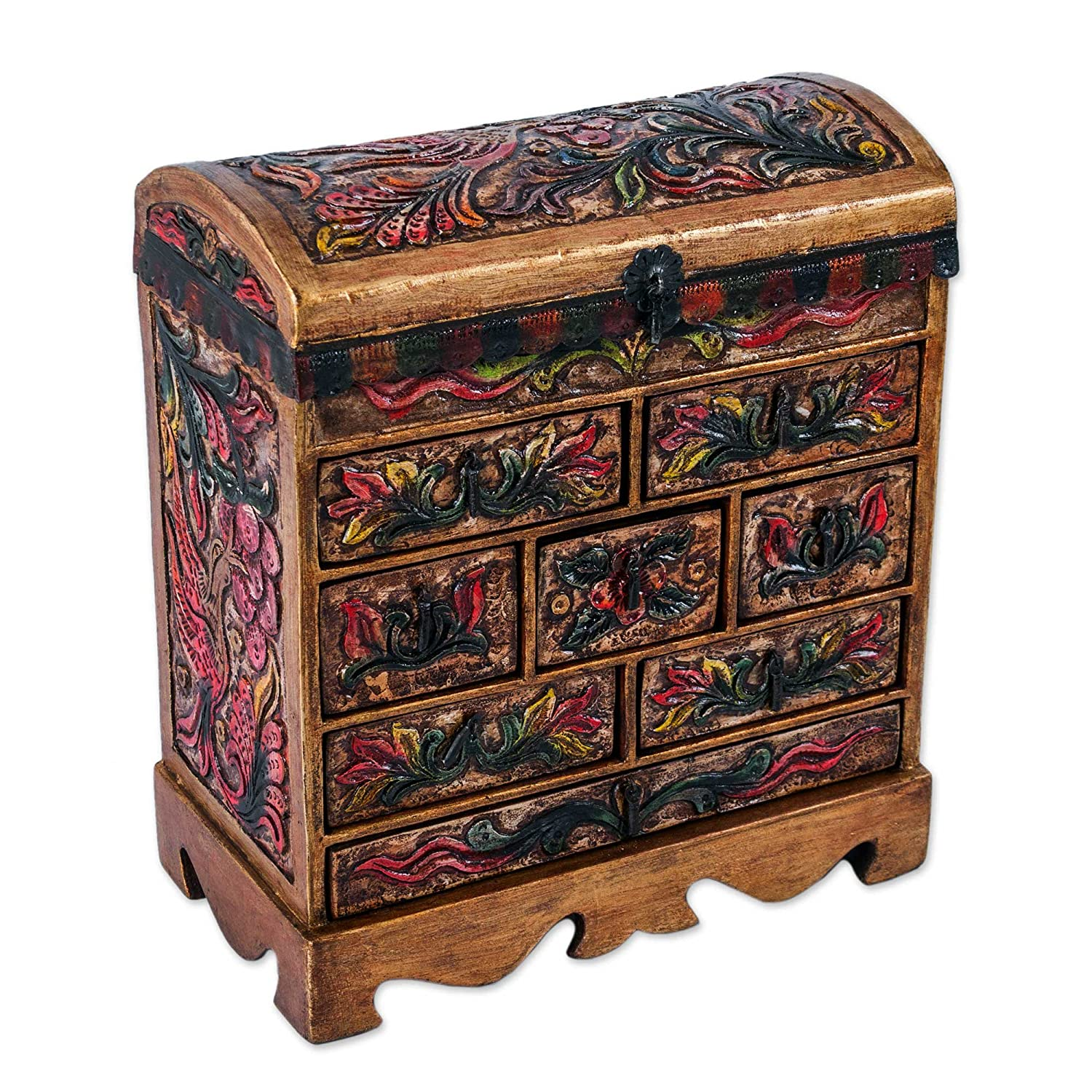 NOVICA JB0062 Exotic Birds Wood and Leather Jewelry Box
