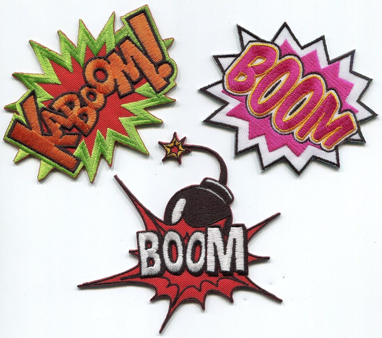 Lot de 3 Kaboom Boom Cherry Bomb Comics bordado Appliques parches para planchar: Amazon.es: Juguetes y juegos