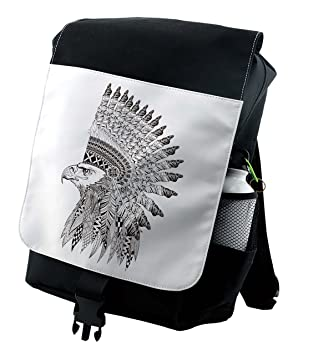 Amazoncom Lunarable Tattoo Backpack Warrior Fierce Eagle Feather