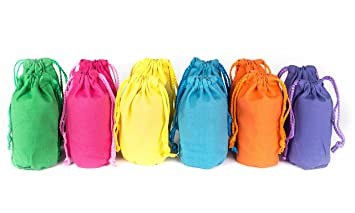 Amazon.com: Canvas Drawstring Favor Gift Bags Bulk Set of 12 Neon ...