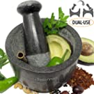 Ezo.Home Granite Pestle and Mortar Large Set - Reversible Double Side Use, Ideal for Grinding Paste, Pounding Spice and as Pill Crusher, Natural Stone