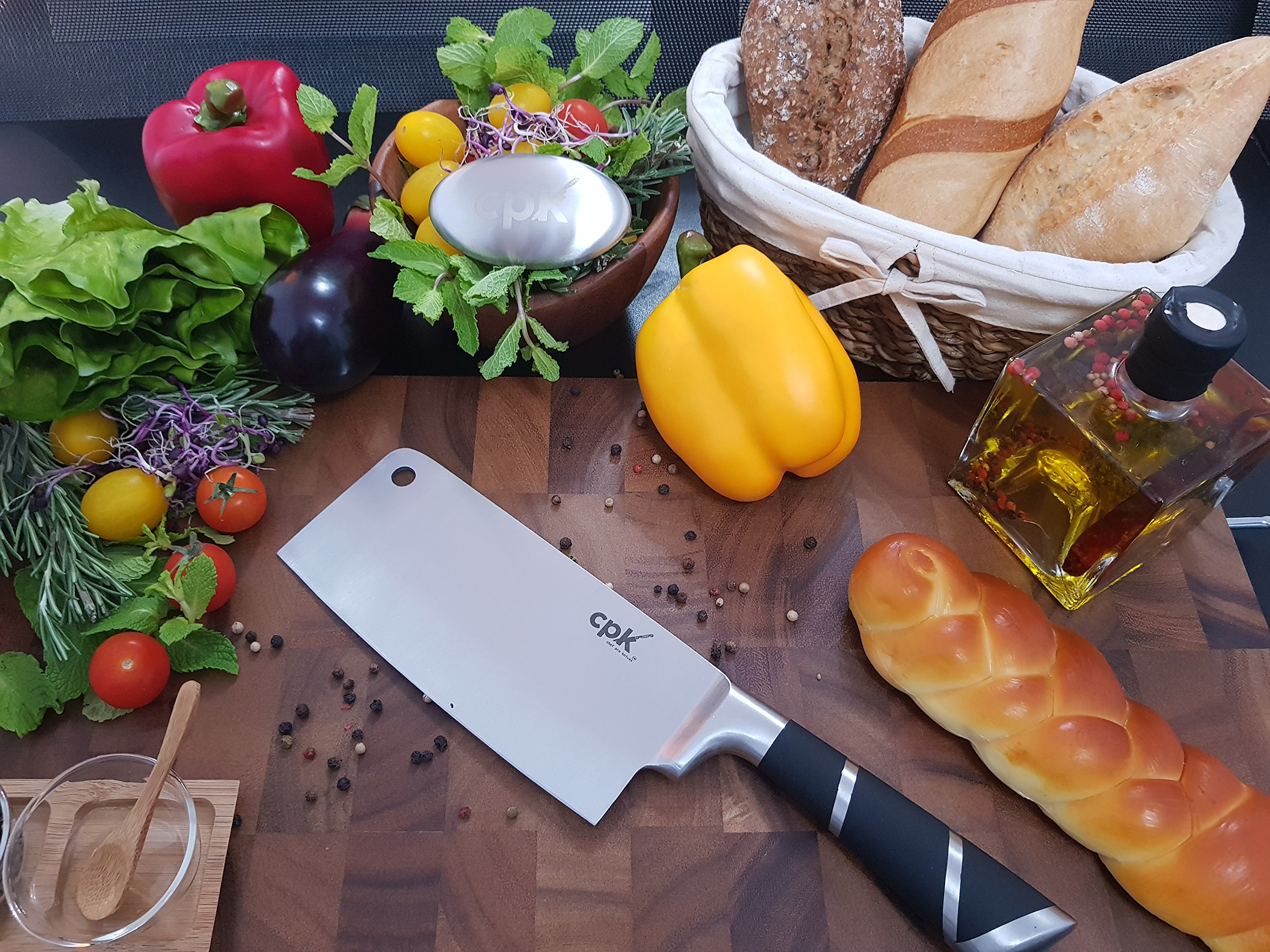 7'' Professional Cleaver Knife Stainless Steel with Ergonomic Handle/Chinese Meat Cleaver/Butcher knife/Chopper Vegetable Cutter BONUS-Metal Soap for Odor Removing all in a Gift Box for Home Kitchen by CPK Elite (Image #4)