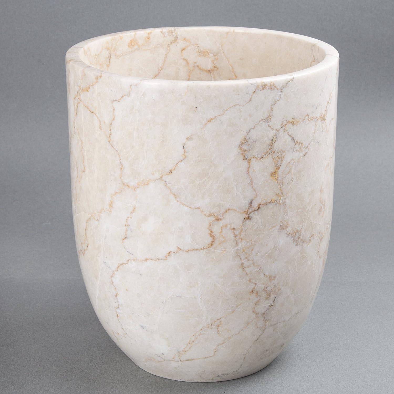 Beige 7.8 Diam x 9.4 H Creative Home Marble Waste Basket